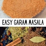 Garam Masala in a sieve and spices in a pan
