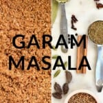 Garam Masala spice mix and ingredients for it