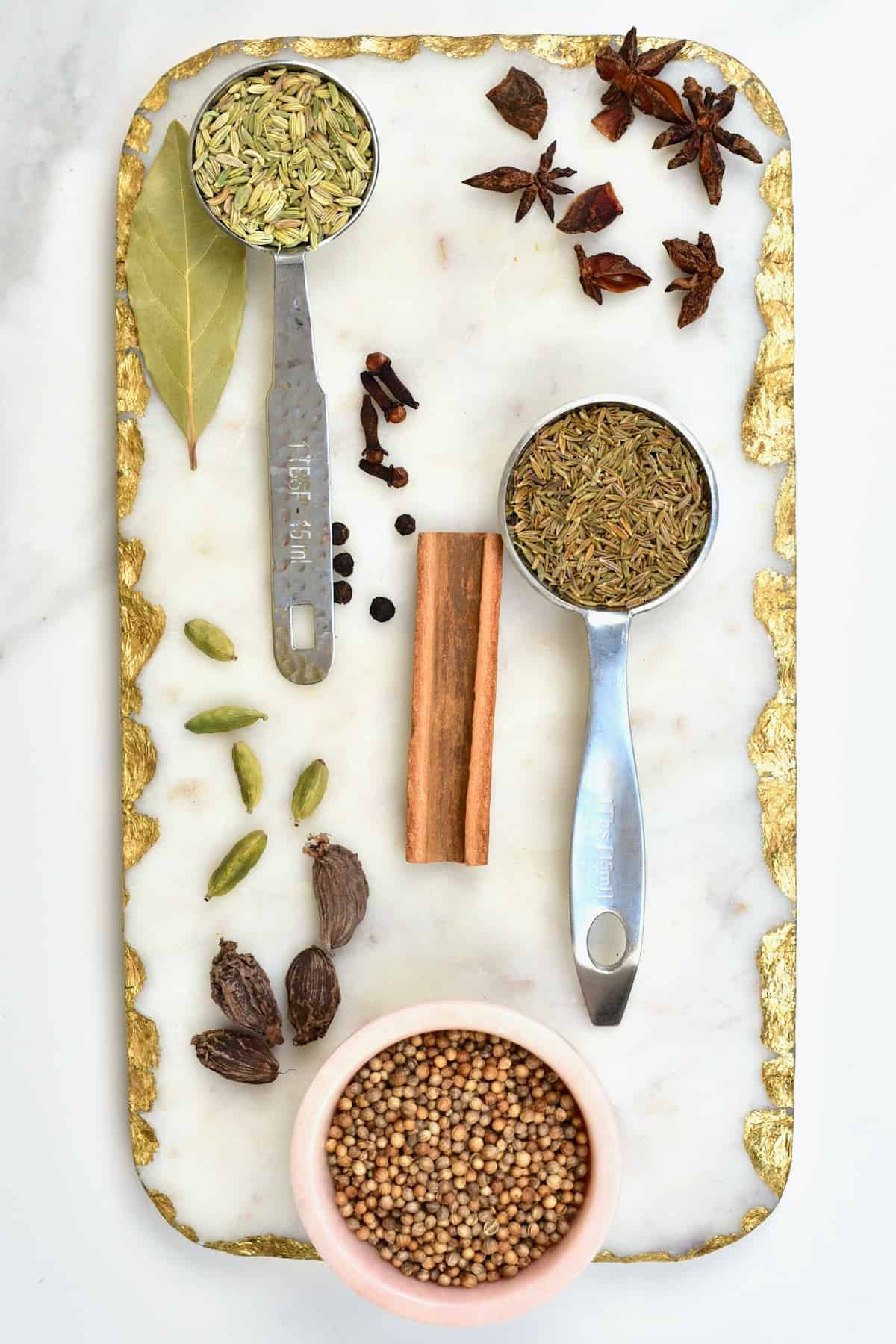 Spices on a board