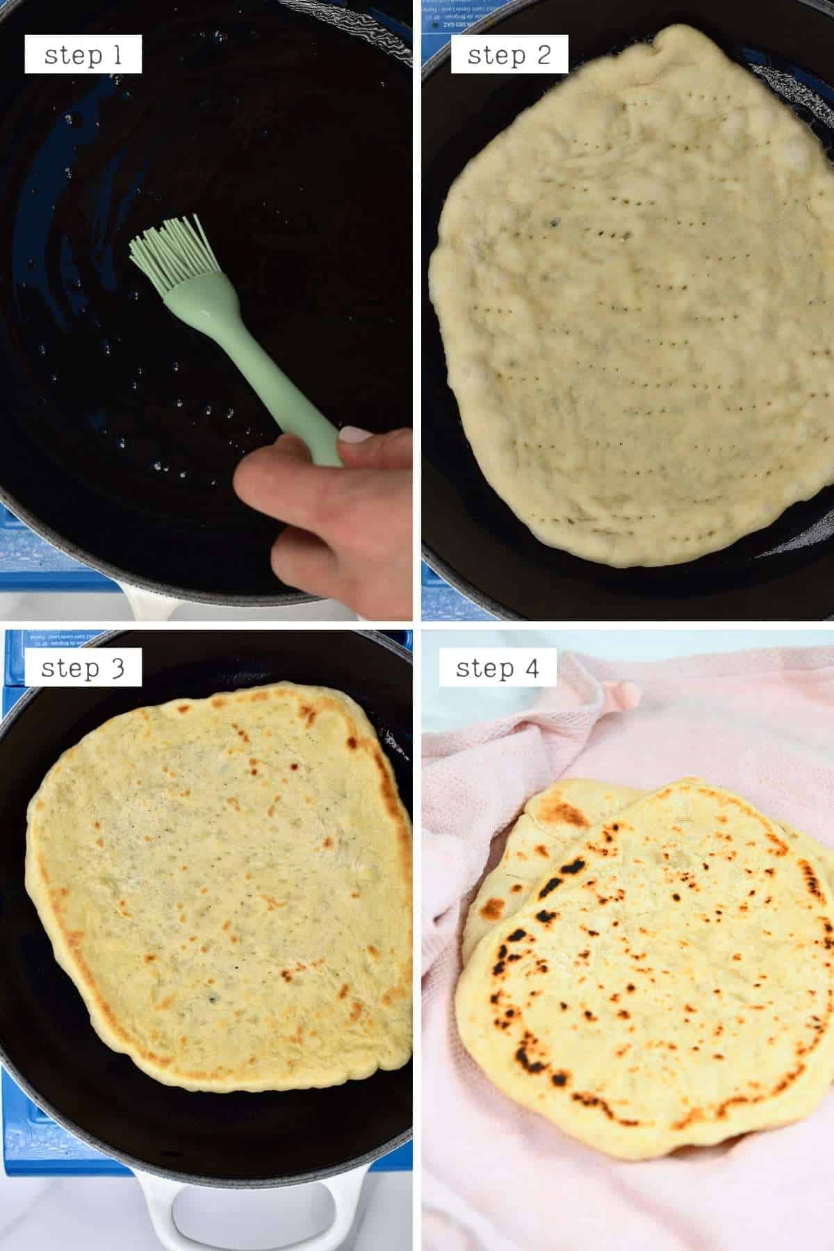 Steps for cooking pita