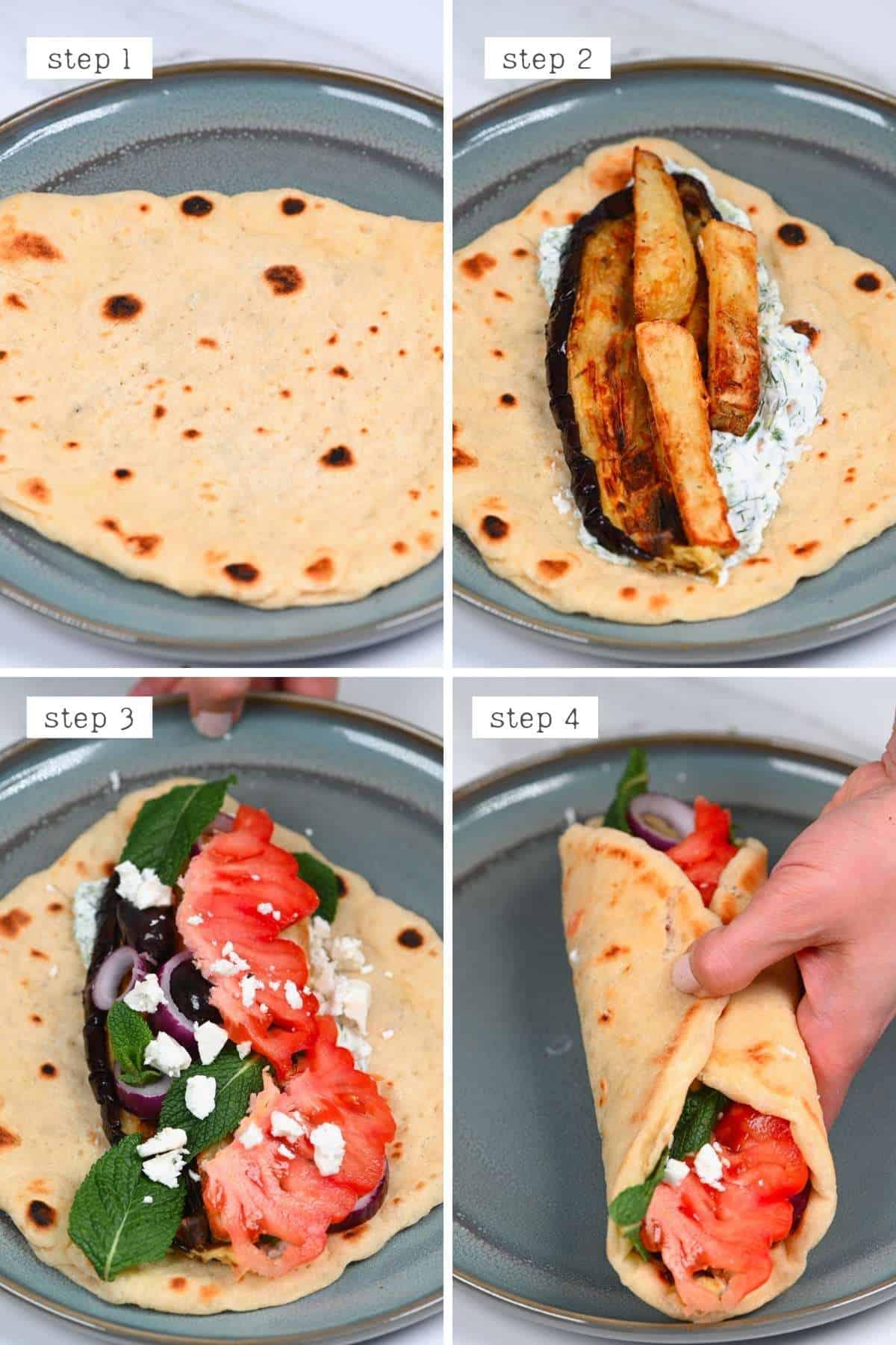 Steps for preparing a pita wrap