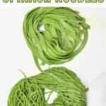 Tagliatelle and spaghetti with green pasta dough