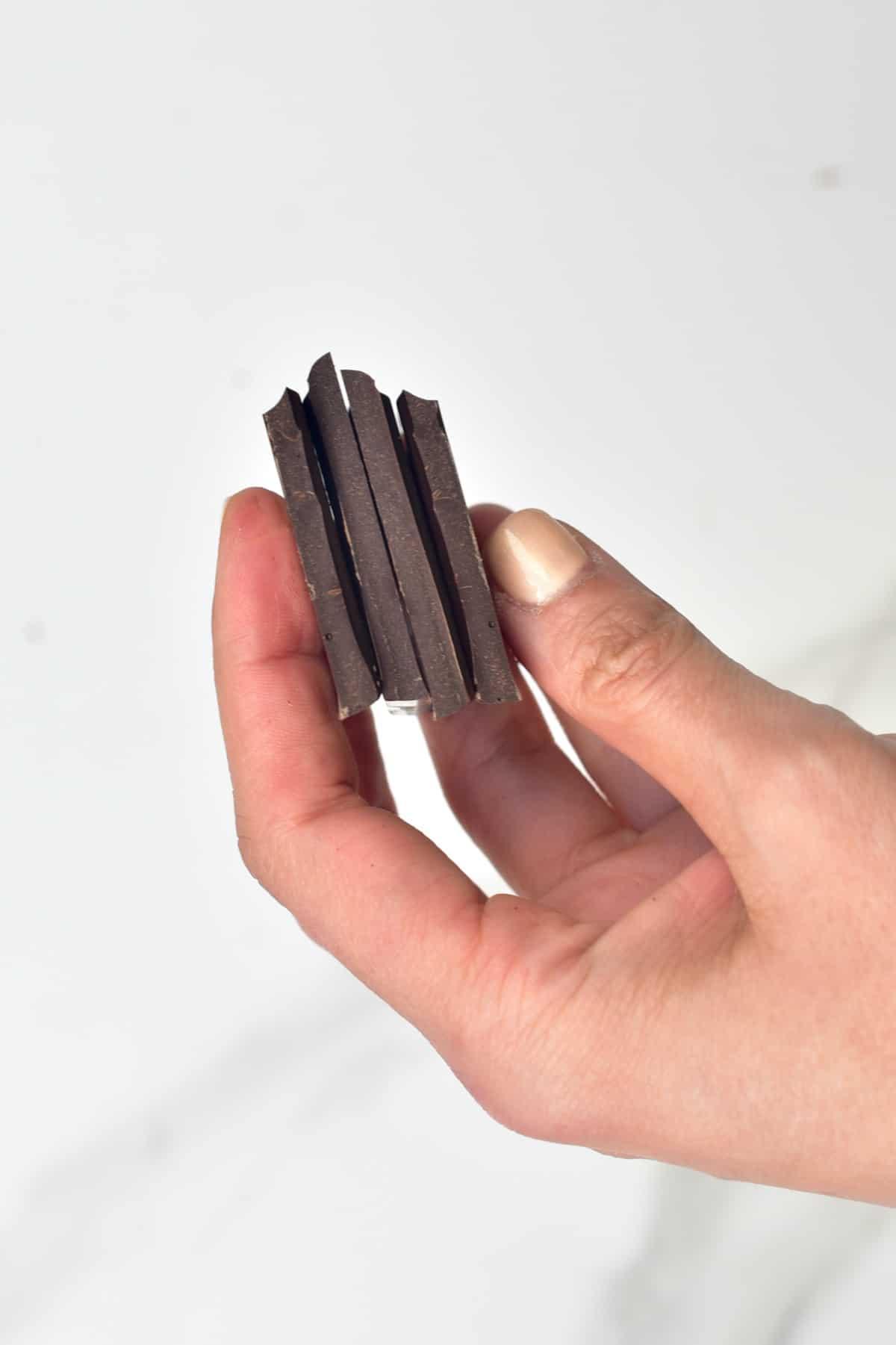 Hand holding homemade chocolate