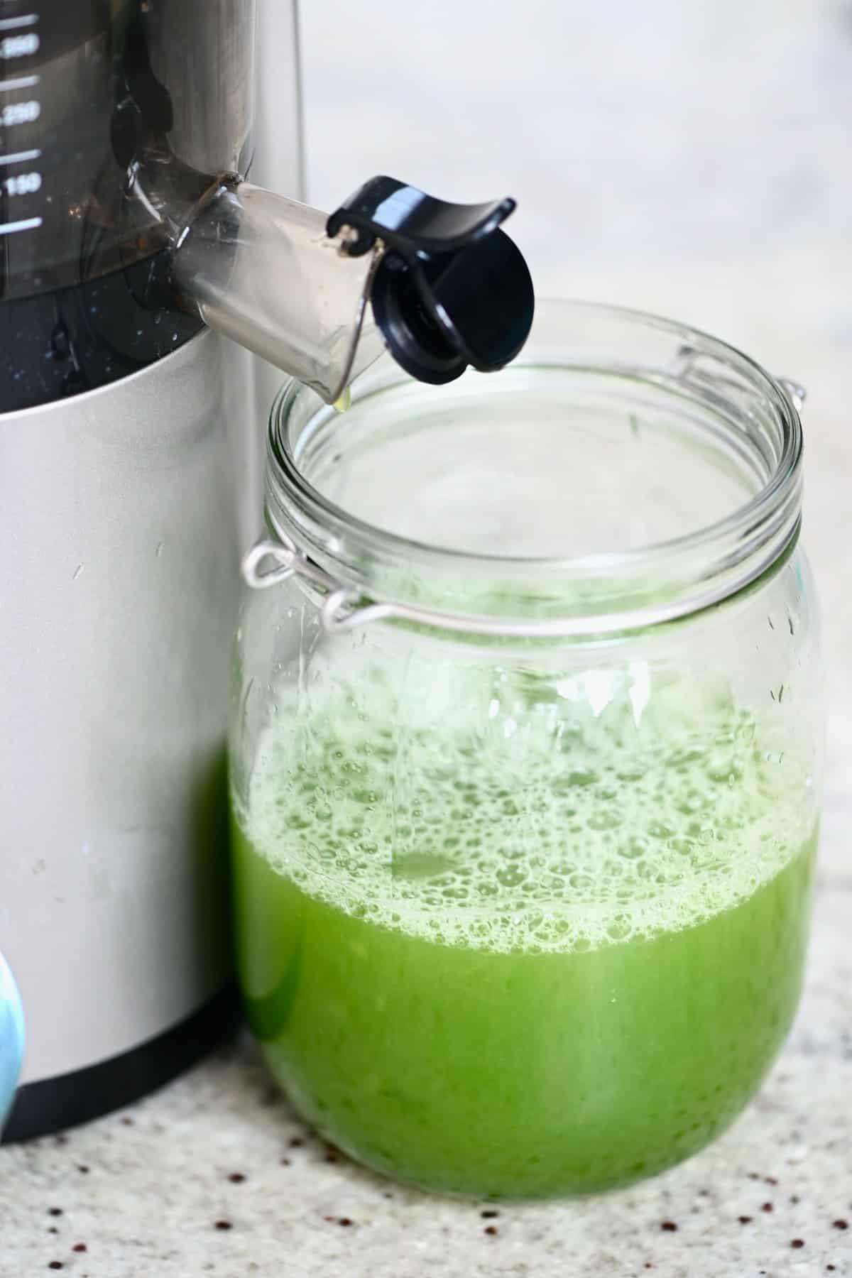 A jug with cucumber juice