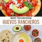 Huevos rancheros and ingredients to make them