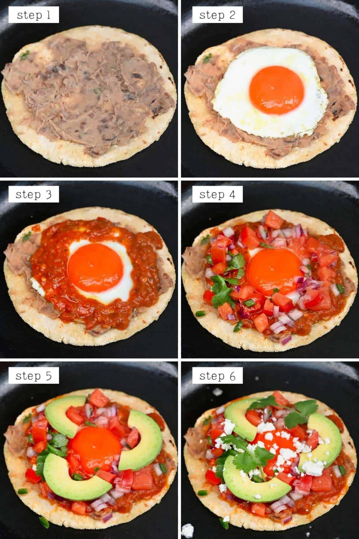 Steps for making huevos rancheros