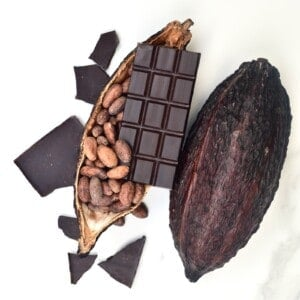 Chocolate bar, cacao beans and cacao pod
