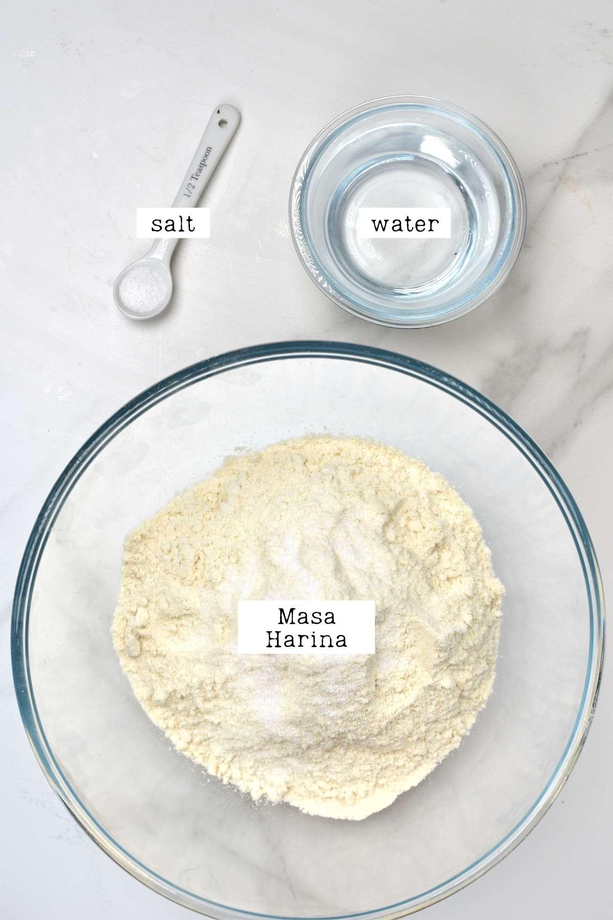 Ingredients for corn tortilla