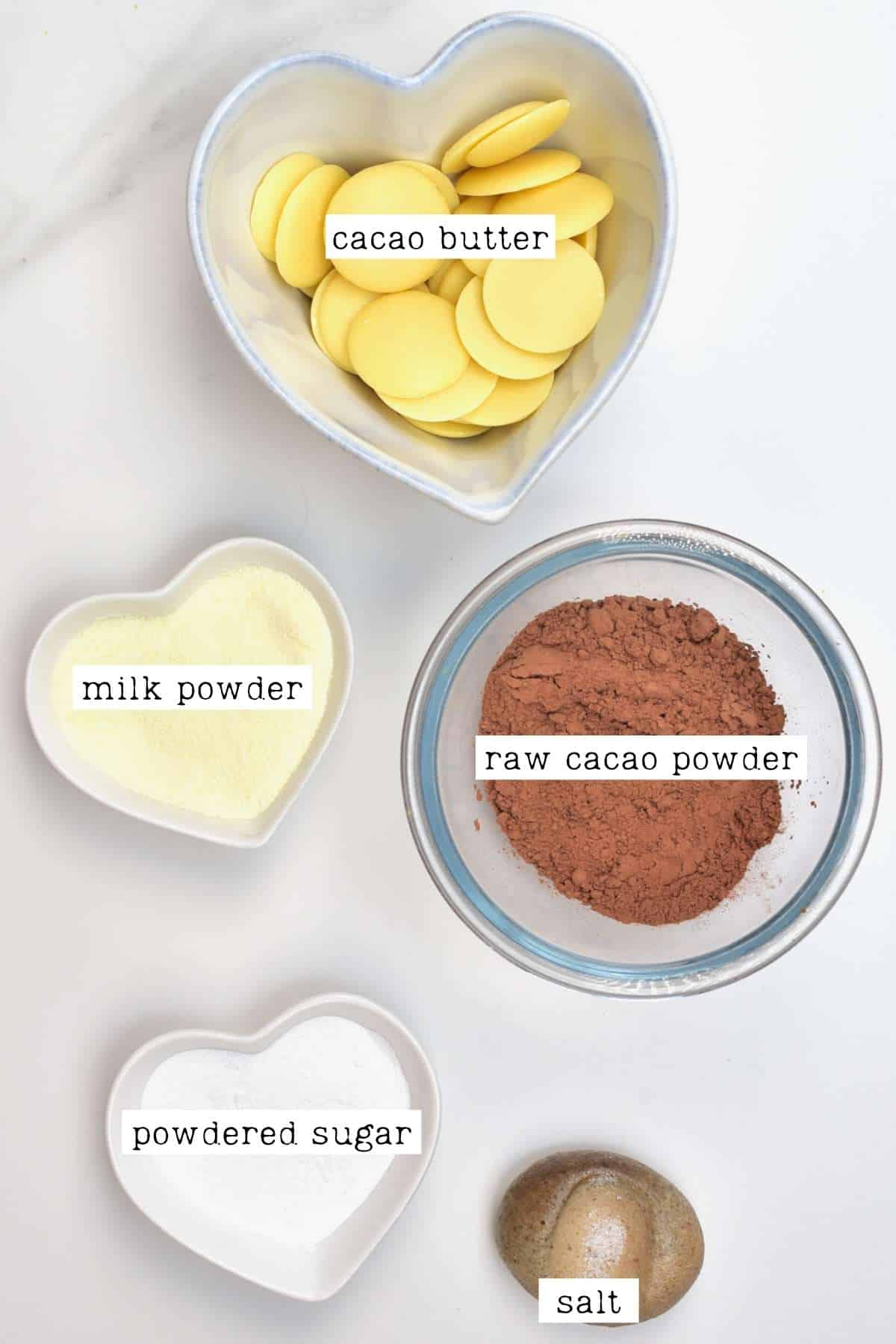 Ingredients for milk chocolate