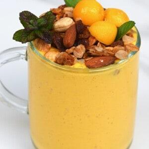 Mango lassi topped with granola