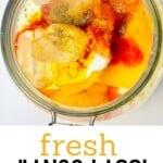 Mango lassi ingredients in a jar