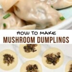 Mushroom dumplings folded and unfolded