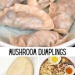 Mushroom dumplings and ingredients to make them
