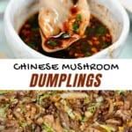 Dipping a Mushroom dumpling into gyoza sauce and mushroom filling