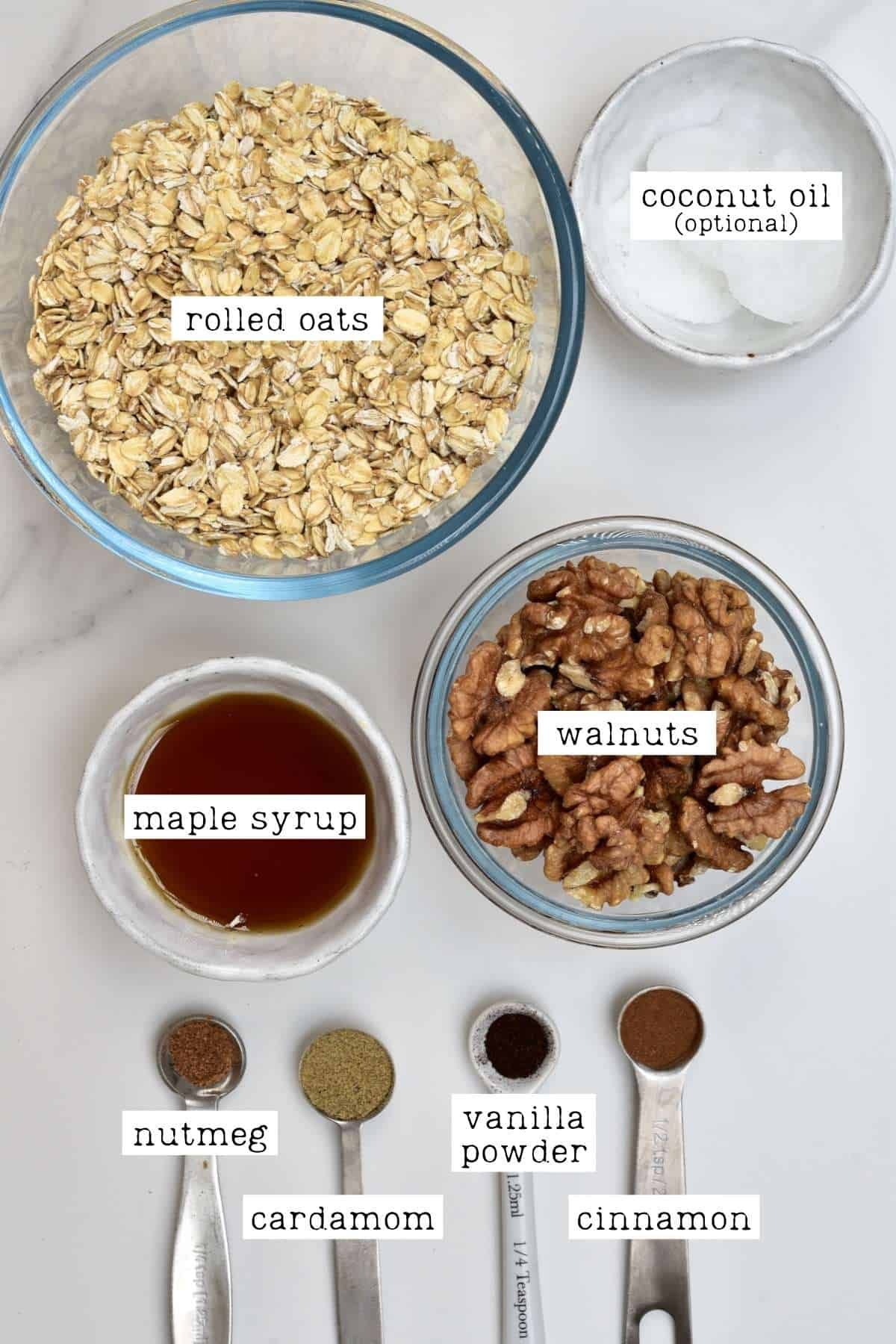 Ingredients for granola butter (aka oatmeal butter or oat butter)