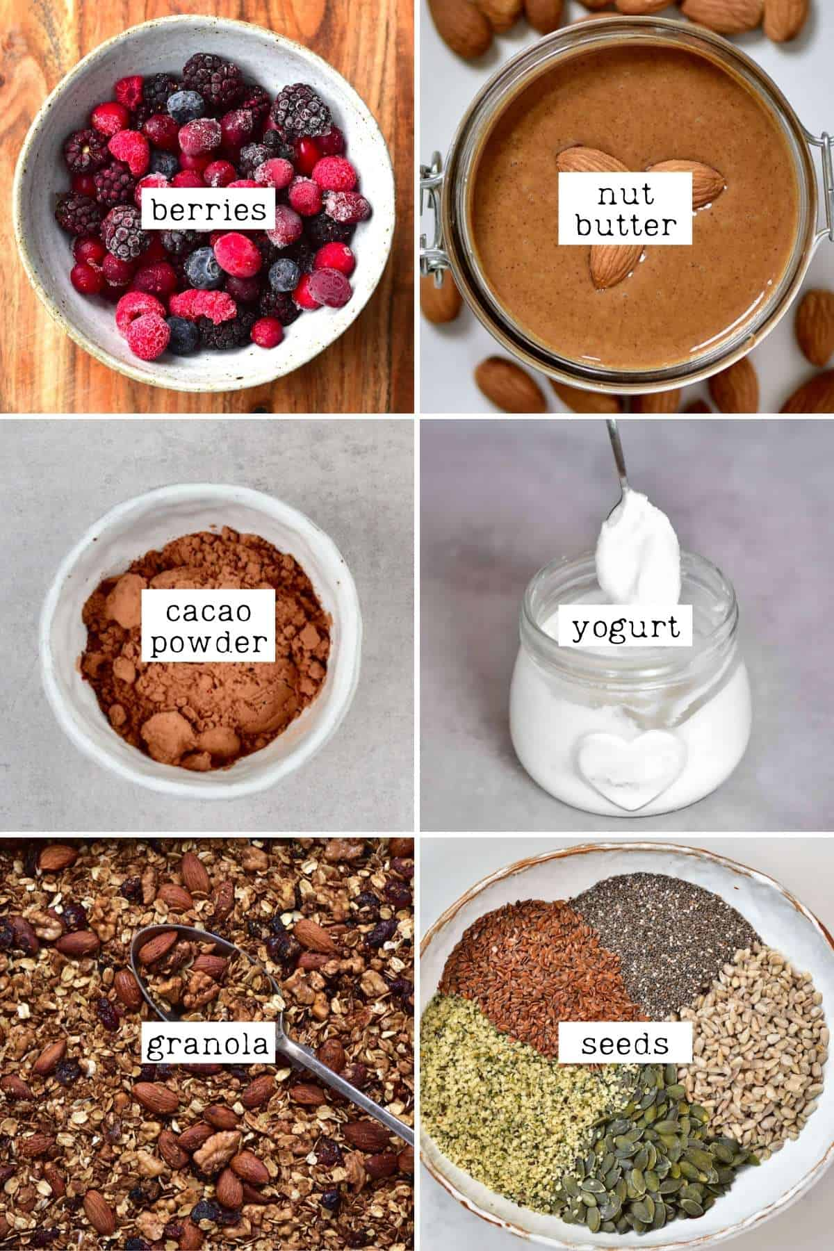 Optional toppings for smoothies