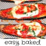 Baked slices of eggplant topped with melted cheese