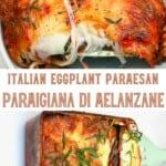 A serving of eggplant parmigiana