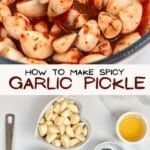 Spicy pickled garlic and ingredients to make it