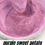 A spoonful with purple sweet potato powder