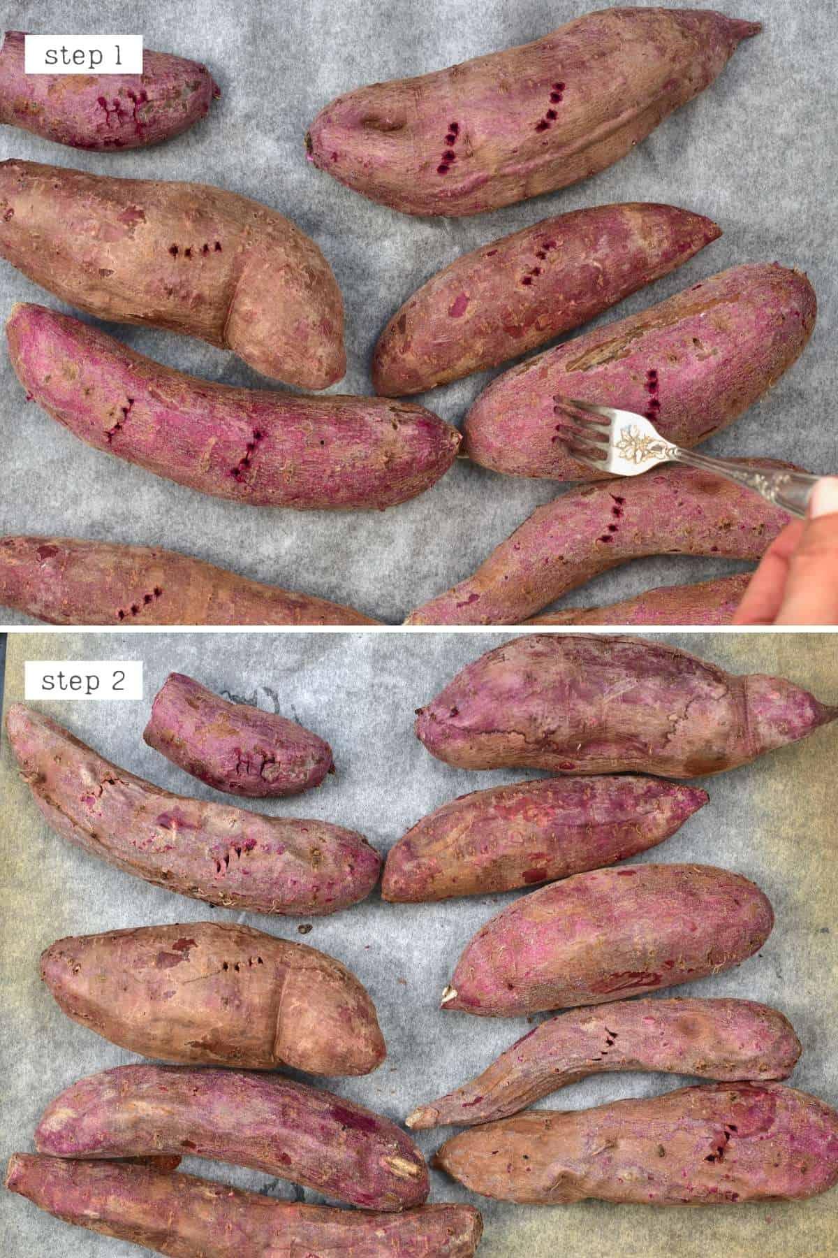 Baking purple sweet potatoes