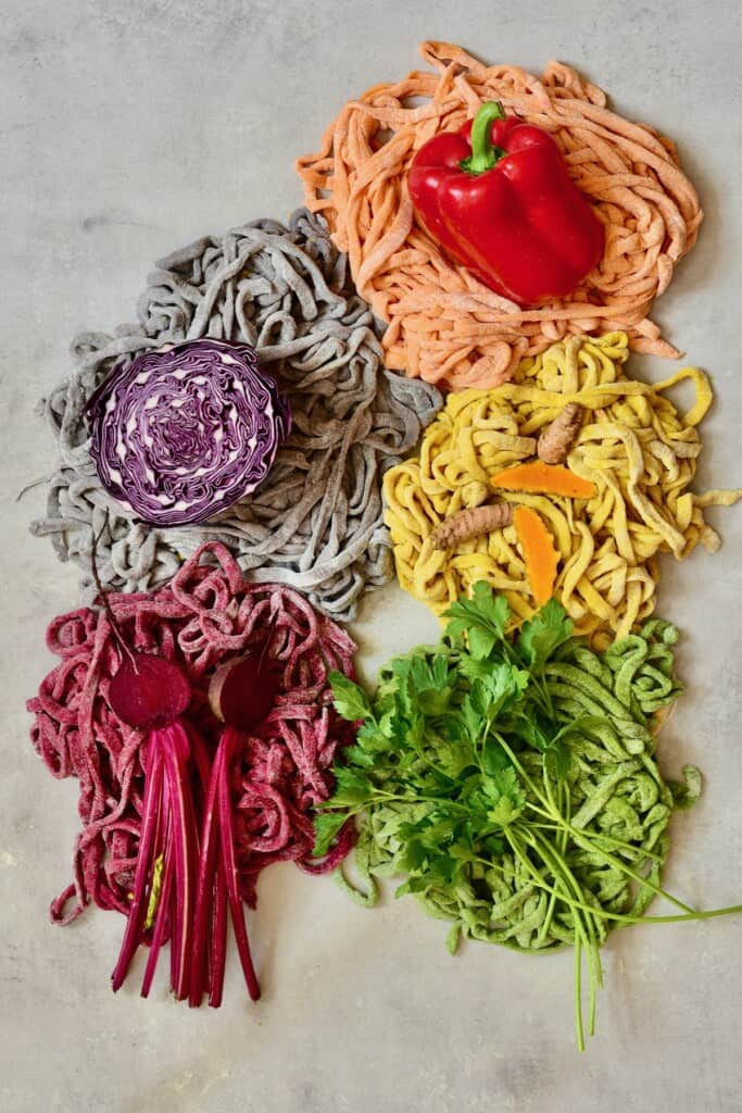 Different colored pasta