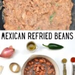 Refried beans and ingredients to make them