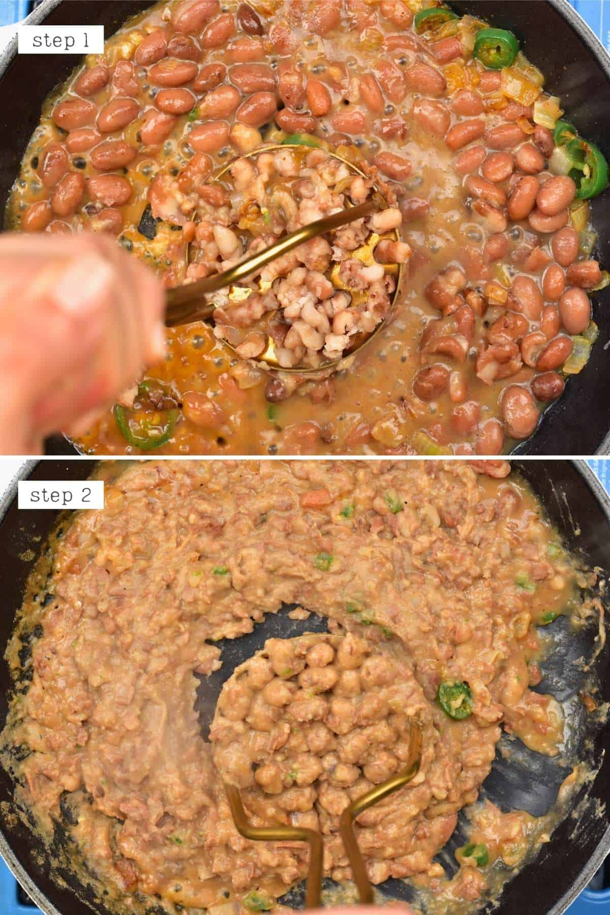 Steps for making refried beans (frijoles refritos)