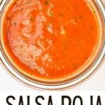 Salsa roja in a jar