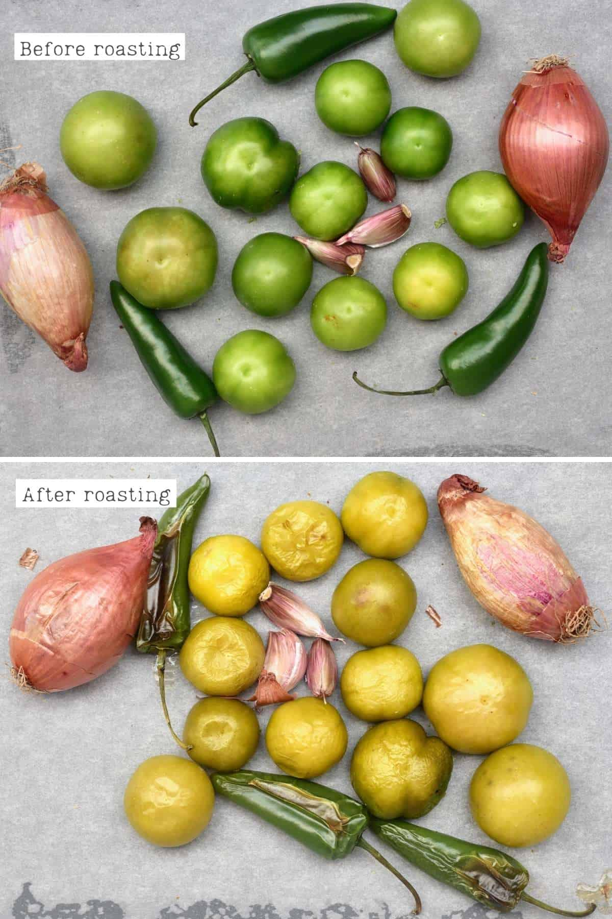 Before and after roasting the ingredients for salsa verde