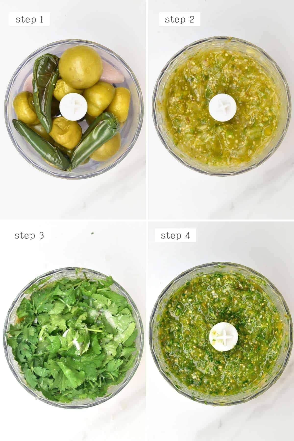 Steps for making salsa verde