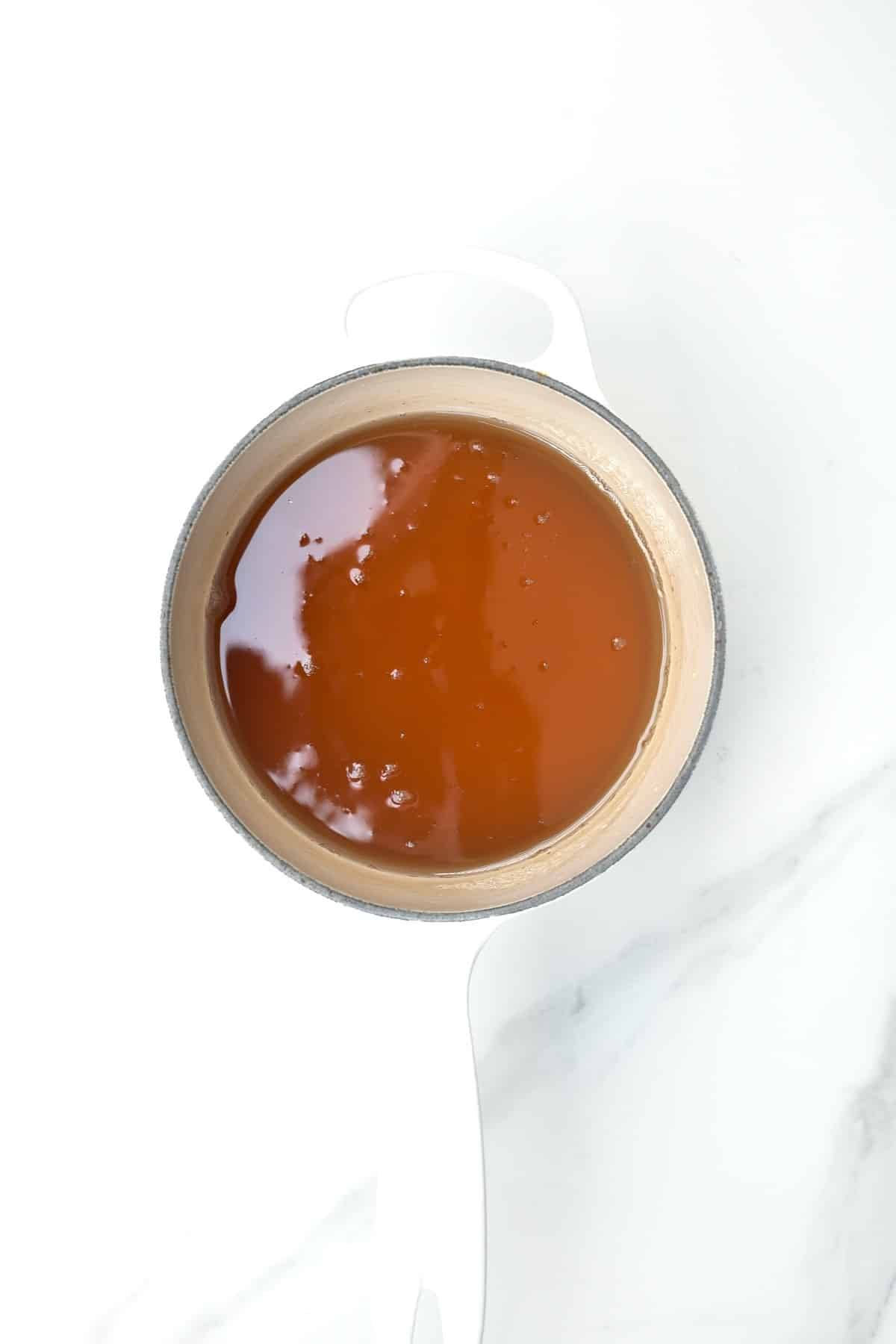 Sugar syrup in a pan