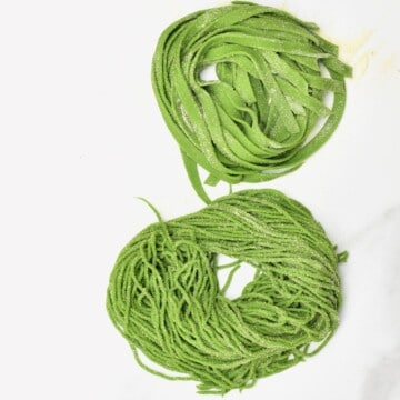 Spinach pasta cut into Tagliatelle and spaghetti