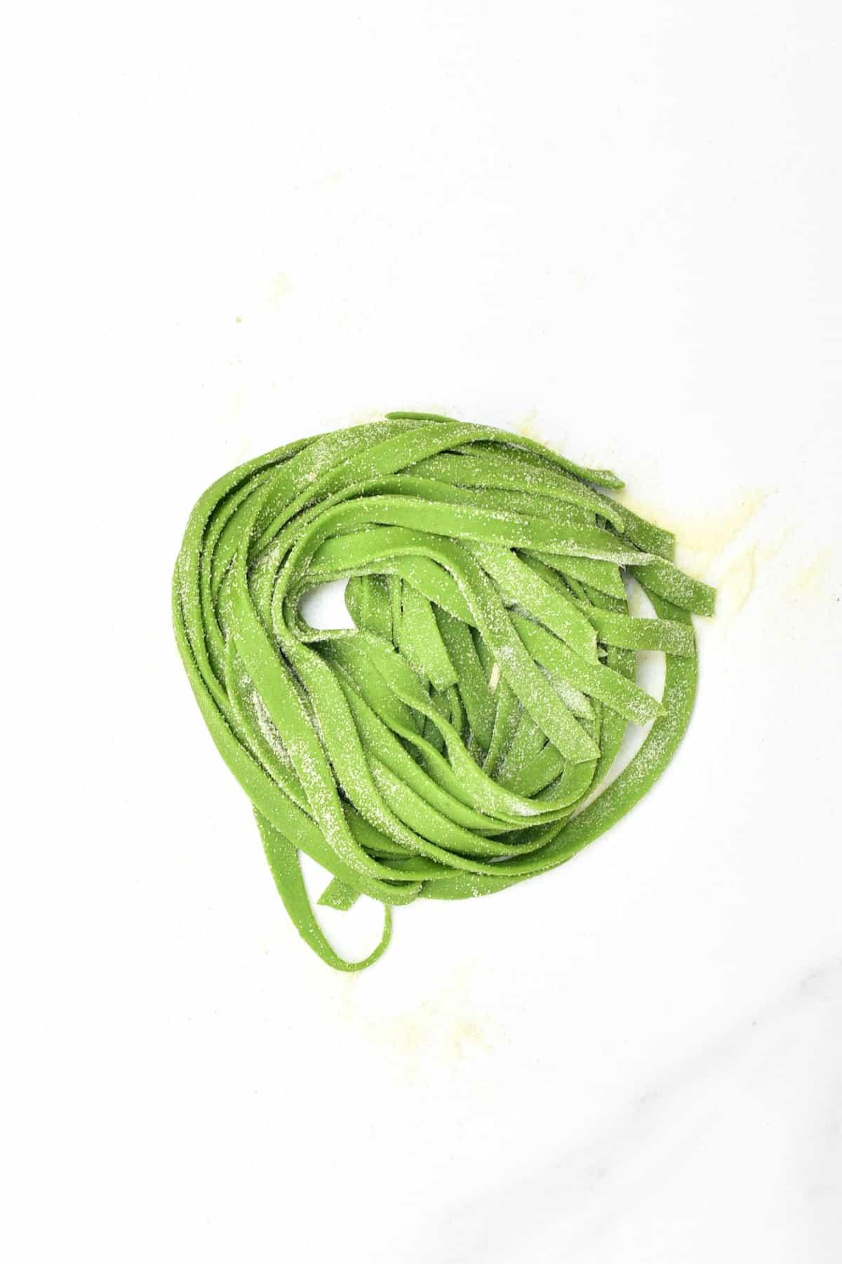 Spinach Tagliatelle made into a nest