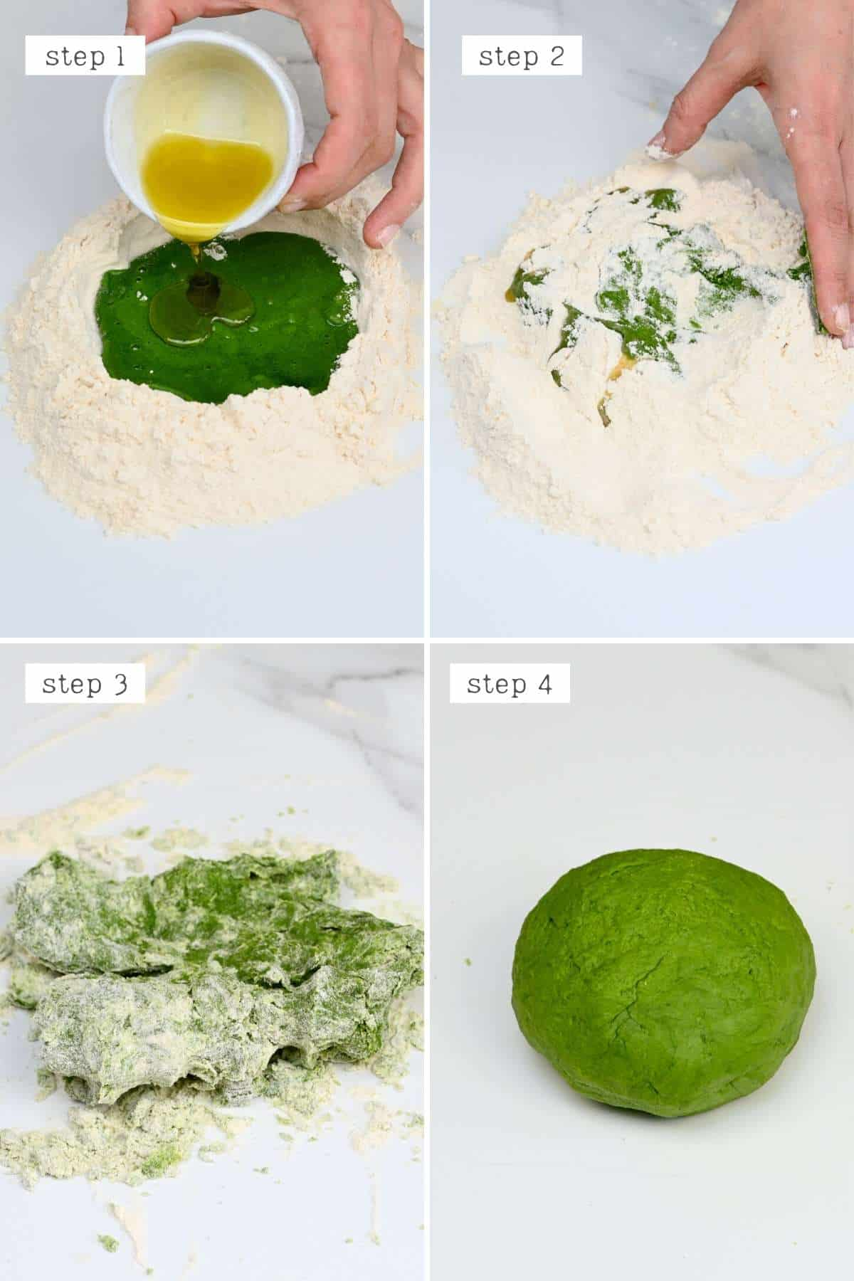 Steps for making spinach pasta