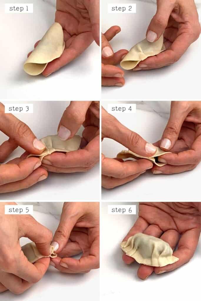 Steps for folding dumplings
