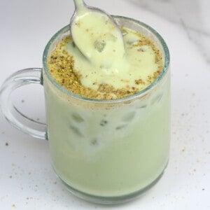 A spoonful of sweet avocado shake