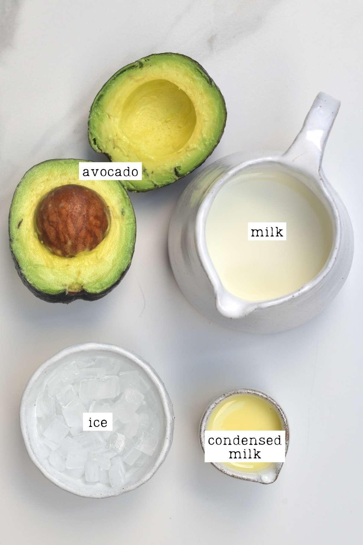 Ingredients for sweet avocado drink