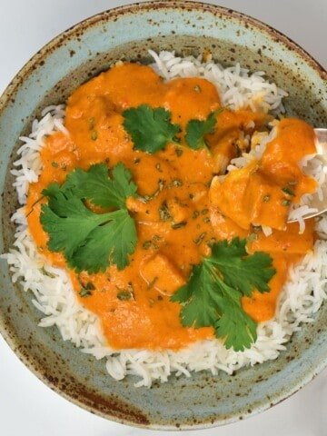 Tofu butter chicken over rice in a bowl