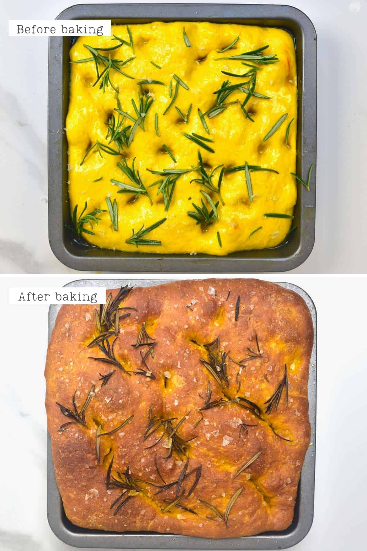 Before and after baking turmeric focaccia