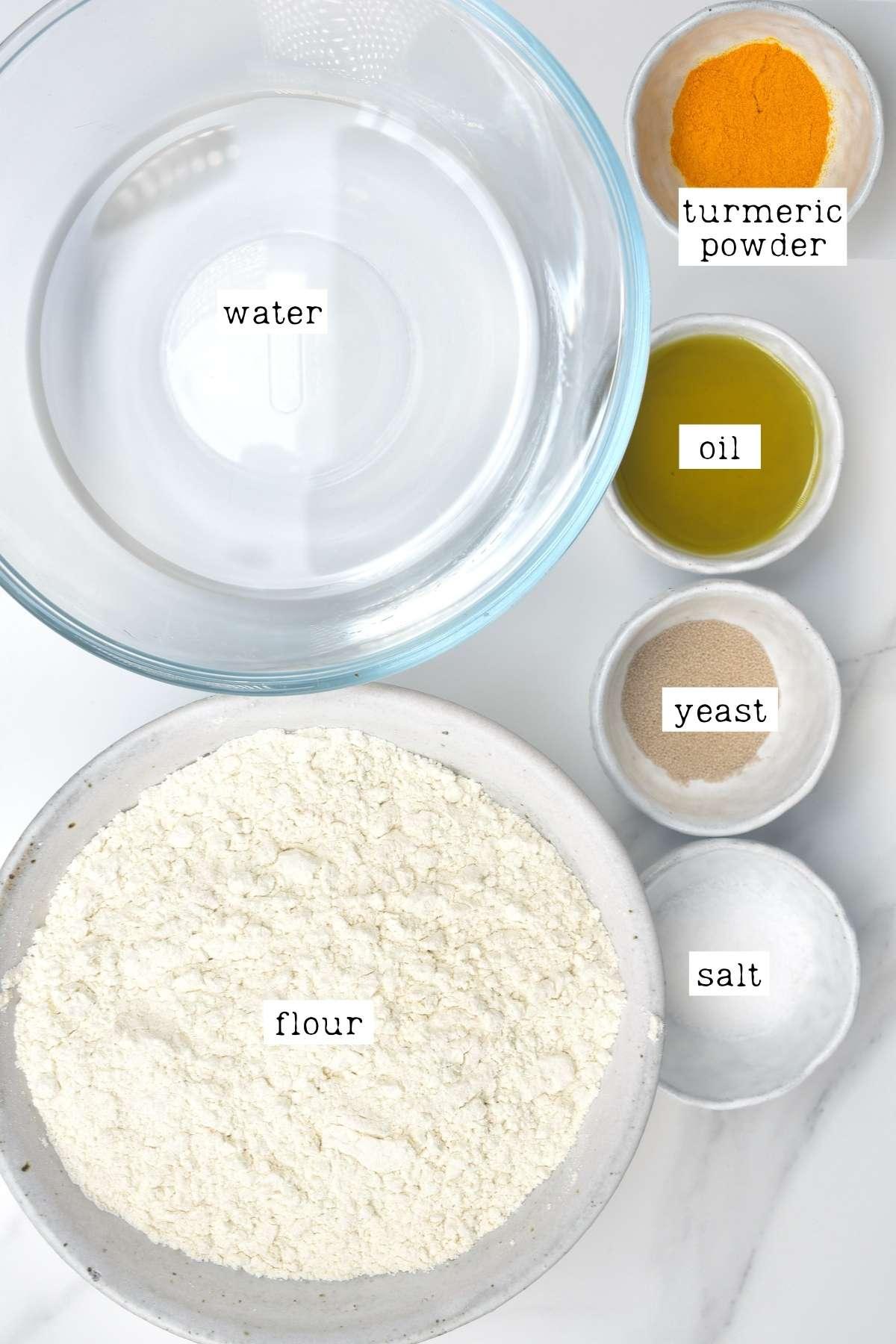 Ingredients for turmeric focaccia