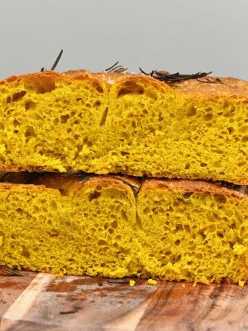 turmeric focaccia cut in two