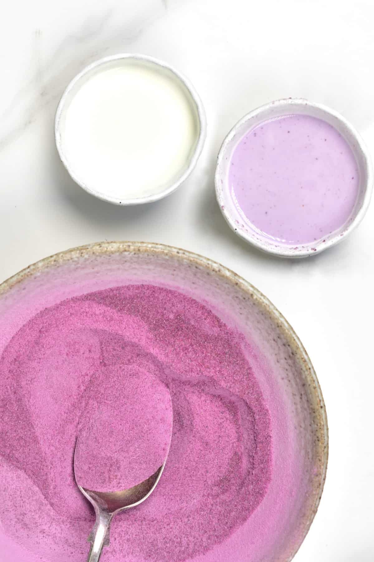 Using purple potato powder