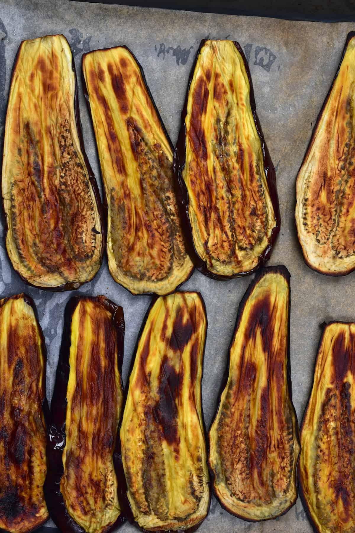 Baked eggplant slices