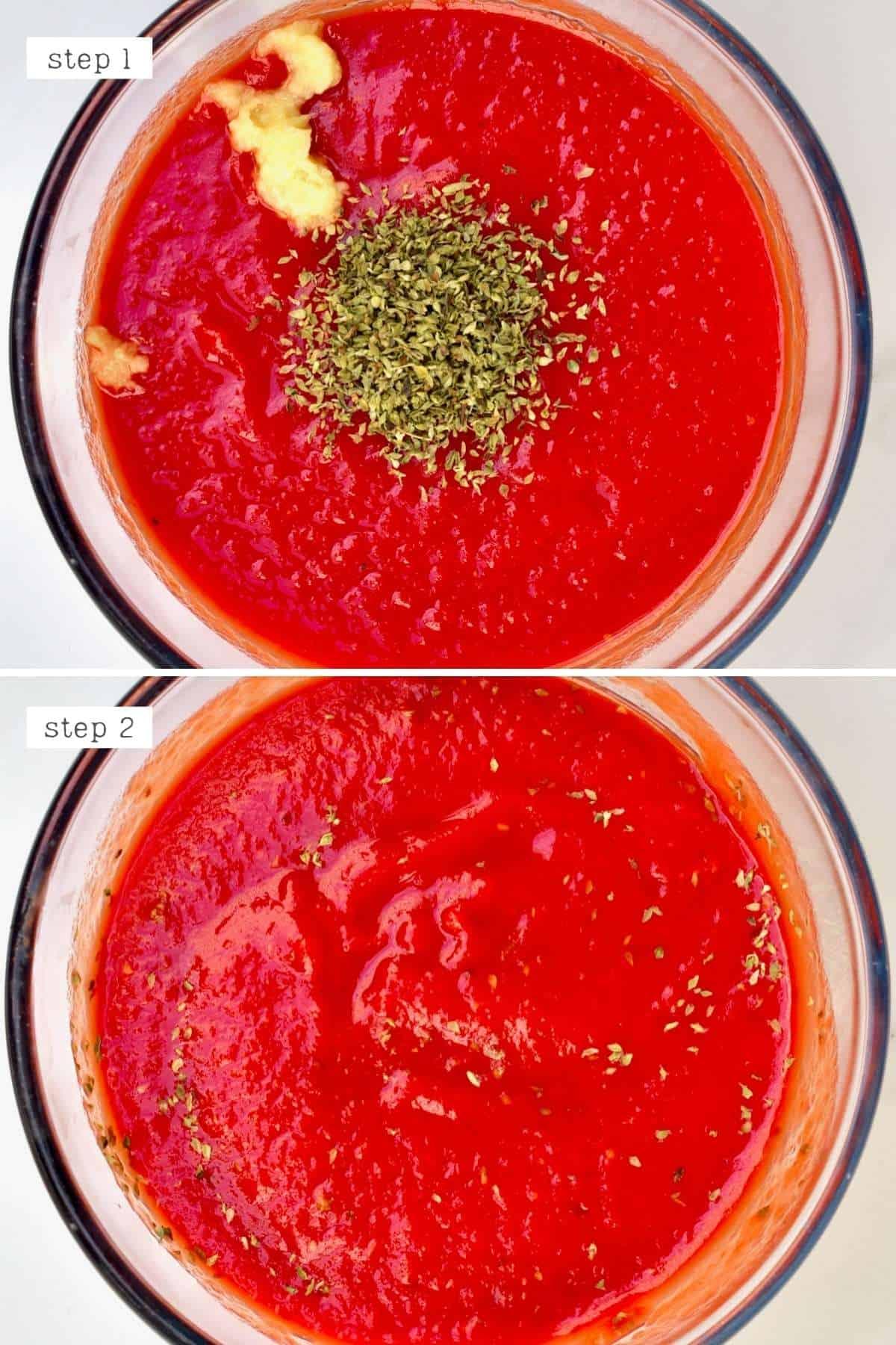 Mixing passata with garlic and oregano