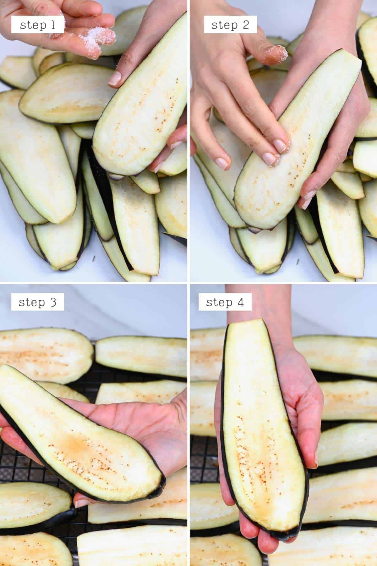 Removing excess water from eggplant slices