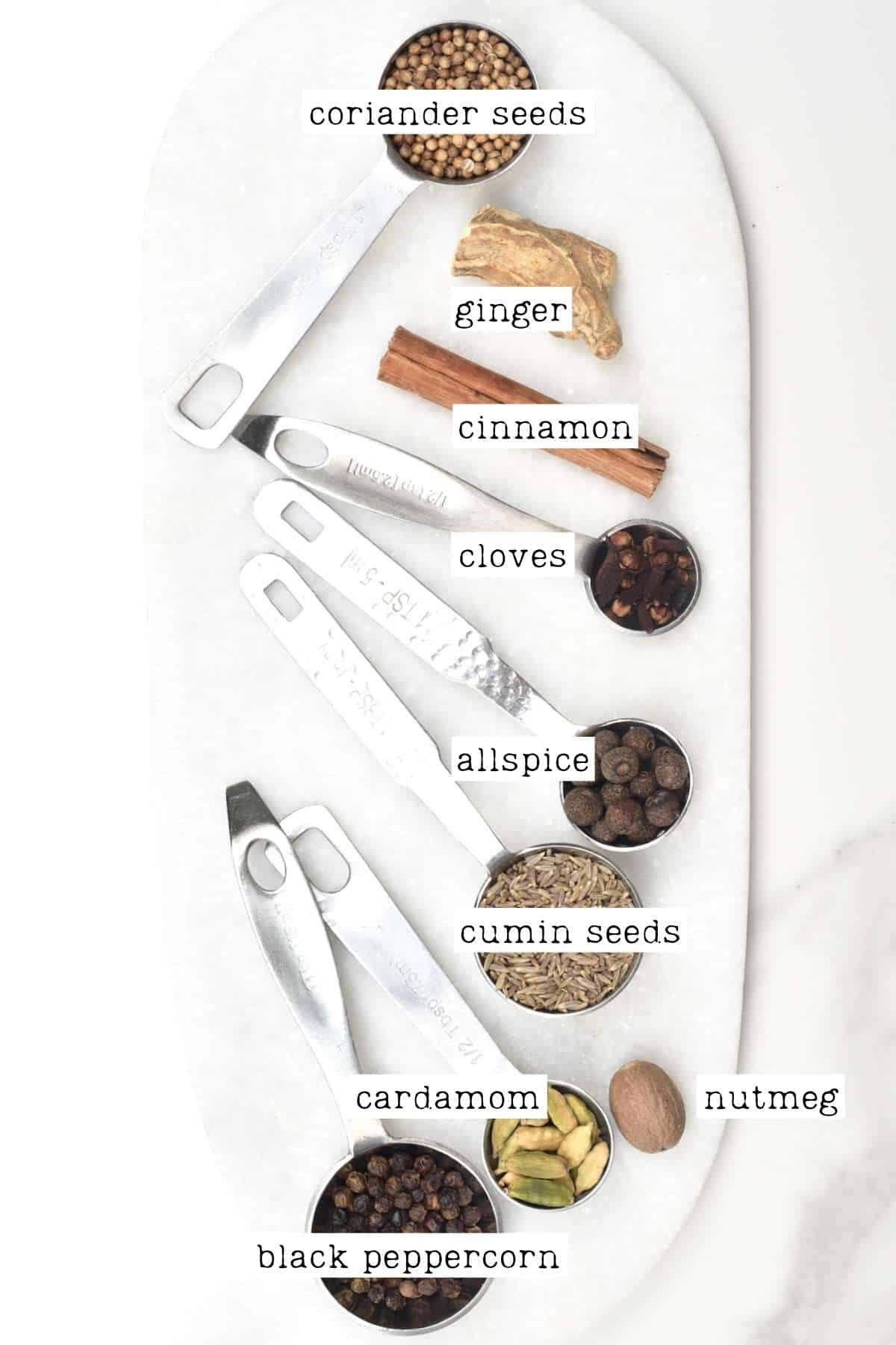 Ingredients for Middle Eastern spice mix