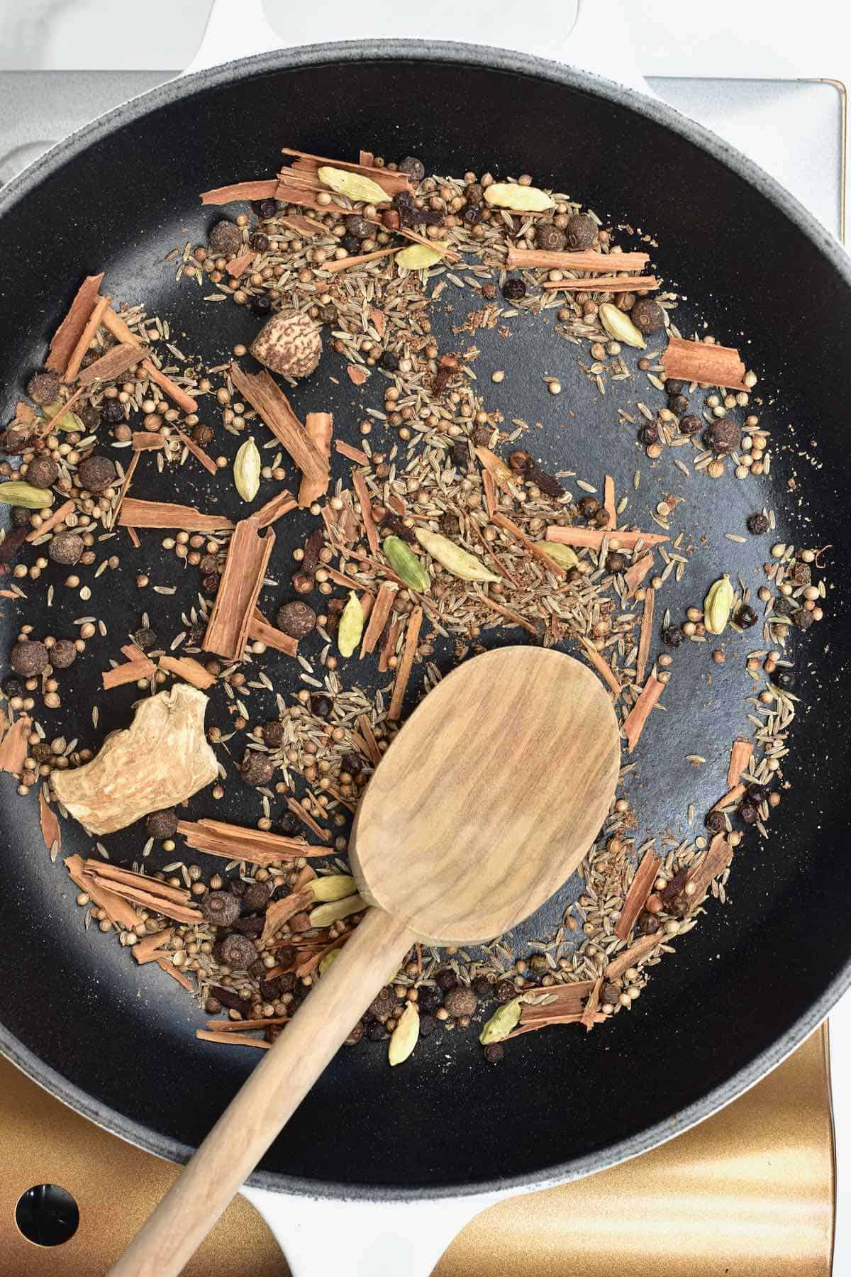 Toasting spices on a pan