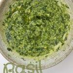 Freshly made basil pesto in a bowl
