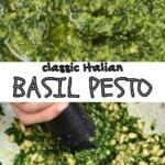 Making basil pesto